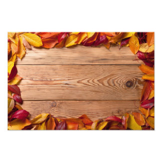 Autumn Leaves From Fruit Trees On Wood Background Photograph