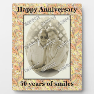 Autumn Leaves Happy 50th Anniversary Add Photo Plaque