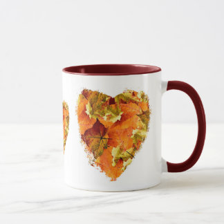 Autumn leaves heart mug