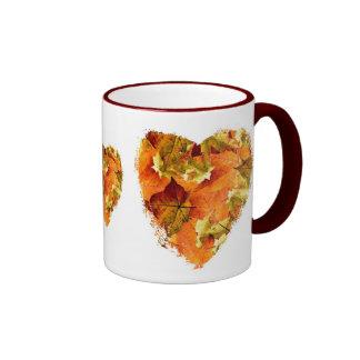 Autumn leaves heart ringer mug