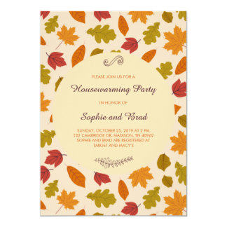 Autumn Leaves Housewarming Party Card