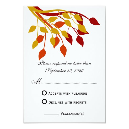 Autumn Leaves in Gold, Orange, Red RSVP Cards