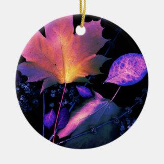 Autumn Leaves in Neon Round Ceramic Decoration