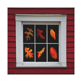Autumn Leaves in Old Mill Window Canvas Prints