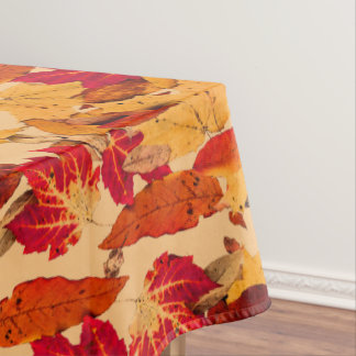 Autumn Leaves in Red Orange Yellow Brown Tablecloth