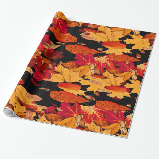Autumn Leaves in Red Orange Yellow Brown Wrapping Paper