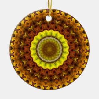 Autumn Leaves Kaleidoscope Mandala Christmas Ornament