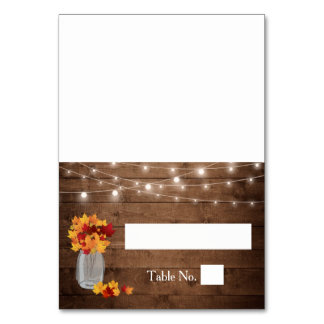 Autumn Leaves Mason Jar Lights Wood Wedding Place Table Card