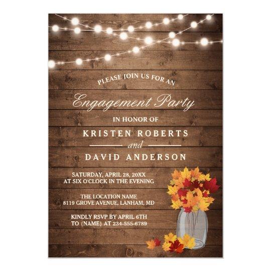 Autumn Leaves Mason Jar Rustic Engagement Party Card