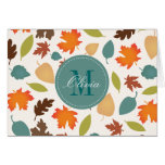 Autumn Leaves Monogram Personalised Note Cards