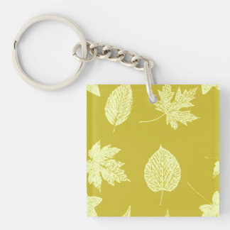 Autumn leaves - mustard and light yellow Double-Sided square acrylic key ring