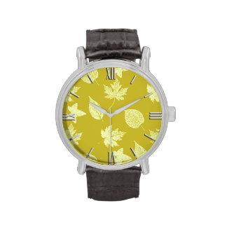 Autumn leaves - mustard and light yellow wrist watch