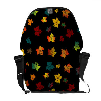 Autumn leaves on a black background courier bags