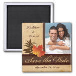 Autumn Leaves on Aged Paper Photo Save the Date Square Magnet