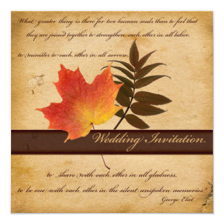 Autumn Leaves on Aged Paper Square Invitation
