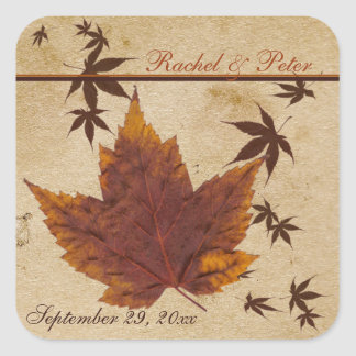 Autumn Leaves on Aged Paper Square Wedding Sticker