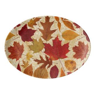 Autumn Leaves on Beige Damask Porcelain Serving Platter