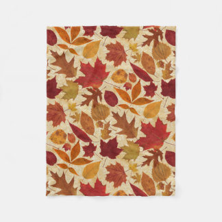 Autumn Leaves on Beige Fleece Blanket