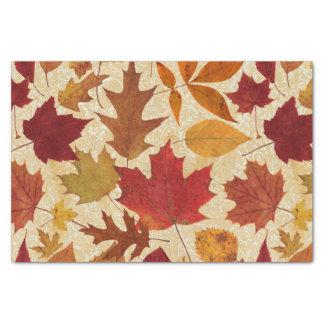 Autumn Leaves on Beige Tissue Paper