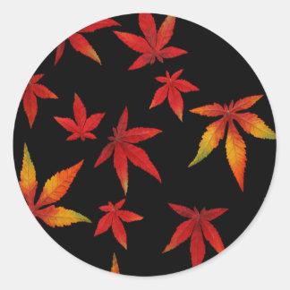 Autumn Leaves On Black Classic Round Sticker