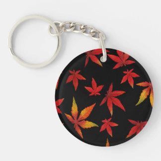 Autumn Leaves On Black Key Ring