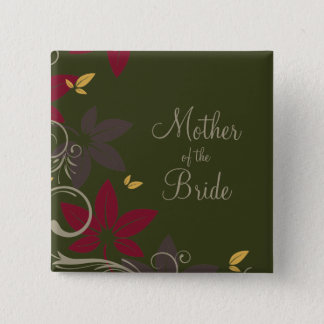Autumn Leaves on Green Mother of the Bride 15 Cm Square Badge