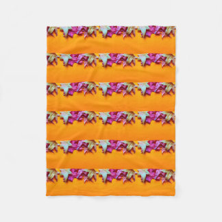 Autumn leaves on orange background fleece blanket