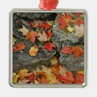 Autumn leaves on stone wall, Minute Man Christmas Ornament