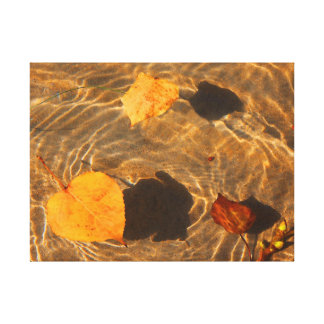 Autumn Leaves On Water Canvas by RoseWrites Gallery Wrapped Canvas