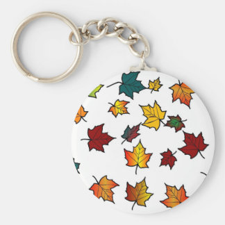 Autumn leaves on white Key chain