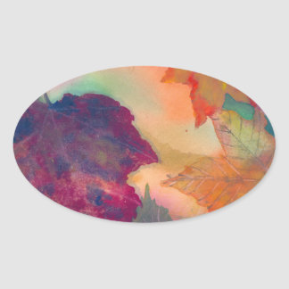 Autumn Leaves Oval Sticker