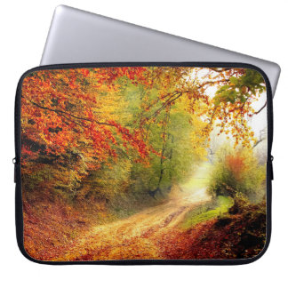 Autumn Leaves Over Country Lane Laptop Sleeve