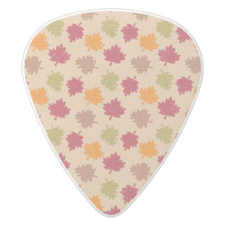Autumn Leaves Pattern White Delrin Guitar Pick