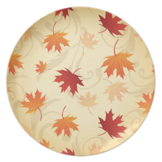 Autumn Leaves Pattern Party Plates
