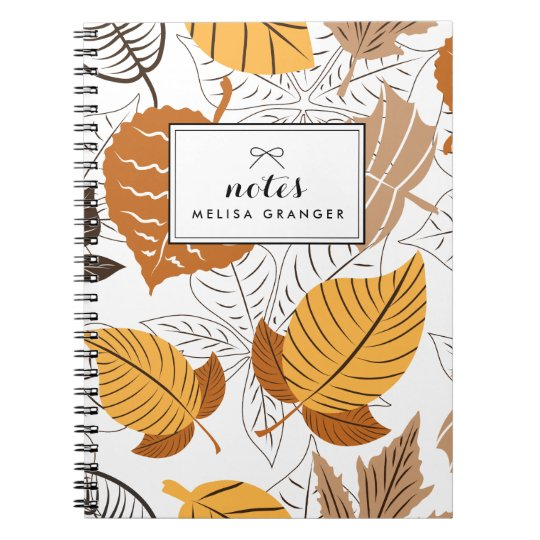 Autumn Leaves Pattern Personalised Notebook
