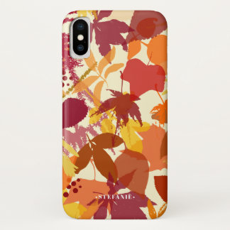 Autumn Leaves Pattern Personalized iPhone X Case