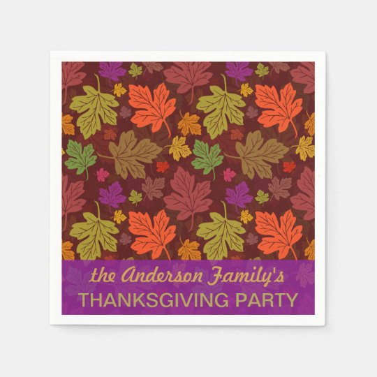 Autumn Leaves Personalised Fall Thanksgiving Party Paper Napkin