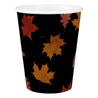 Autumn Leaves Photographic on Custom Color Paper Cup