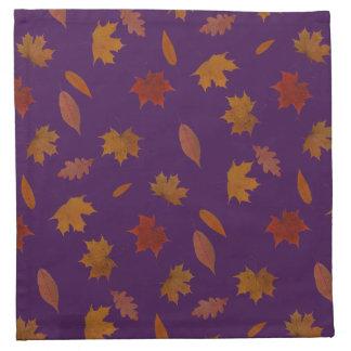 Autumn Leaves Photographic on Purple Custom Color Napkin