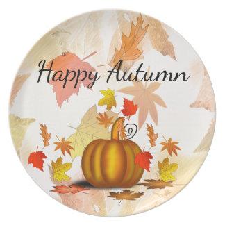 Autumn Leaves & Pumpkin Plate