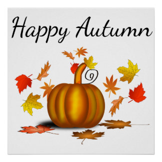 Autumn Leaves & Pumpkin Poster