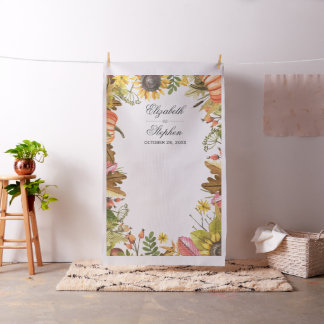 Autumn Leaves Pumpkin Wedding Photo Booth Backdrop