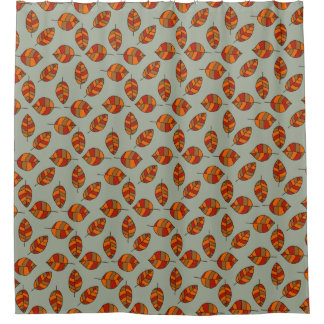 Autumn Leaves Red Leaf Pattern on any Color Shower Curtain