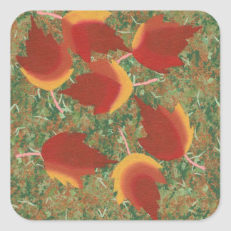 Autumn Leaves Red Maple Abstract on Grass Square Sticker
