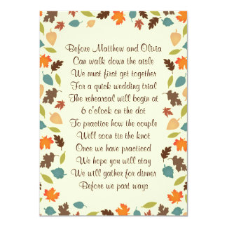 Autumn Leaves Rehearsal Dinner Poem Invitation 4x6