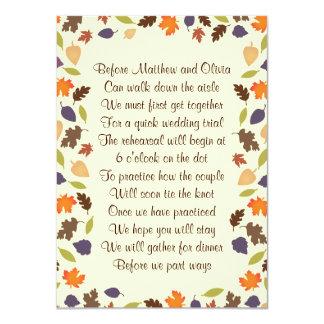 "Autumn Leaves Rehearsal Dinner Poem Invitation 4x6 4.5"" X 6.25"" Invitation Card"