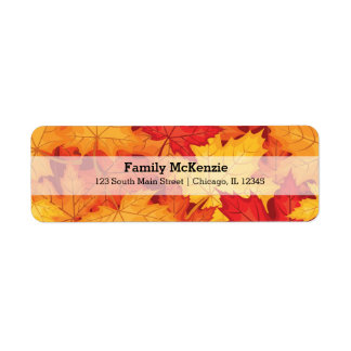 Autumn leaves return address label