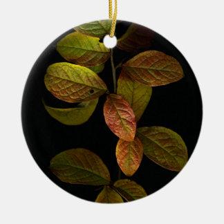 Autumn leaves round ceramic decoration