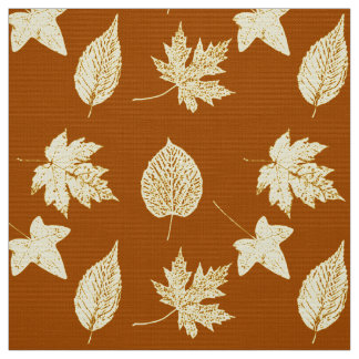 Autumn leaves - rust brown and cream fabric