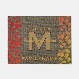 Autumn Leaves Rustic Burlap Family Logo Monogram Doormat